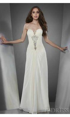 Cute A-Line Ivory Sleeveless Chiffon Prom Dress Sale tzdress6028