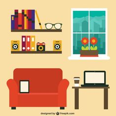 Modern Home Office Free Vector