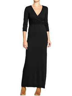 When you're short and a little curvy, a maxi sweater dress makes you look taller and is curve-friendly.  Make it black and $35, and you've got me hooked for a work-to-after-work outfit!  Women's Cross-Front Maxi Sweater Dresses   Old Navy