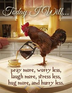 Today I will, pray more, worry less, laugh more, stress less, hug more, and hurry less.