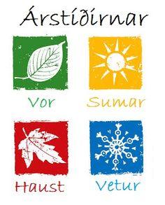 Four Icelandic seasons Icelandic Language, German Language, Visit Reykjavik, Iceland Island, Donia, English Alphabet, Scandinavian, Seasons, Study