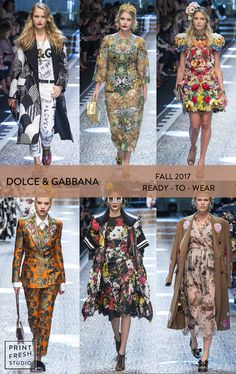 Fall 2017 Ready-to-wear Runway Print & Pattern Trends- Dolce & Gabbana Images: vogue.com floral print dress, black and white geometric print dress, ditsy floral, graphic tee, Italian textile design, printed pants, flower crown