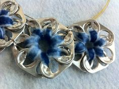 Upcycled Aluminum Soda Pop Tab Necklace Blue by BeasCollectibles, $12.50