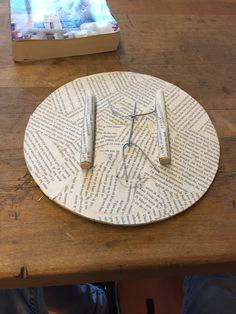 Ik heb deze les de houte stokjes gepapiermacheet. Ik heb ook een poppetje van ijzerdraad die ga ik kater ook papiermacheeën.