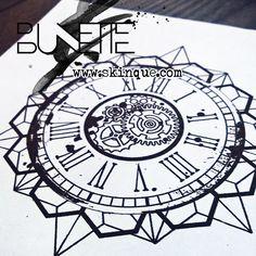 Clock geometric gear trash polka bunette