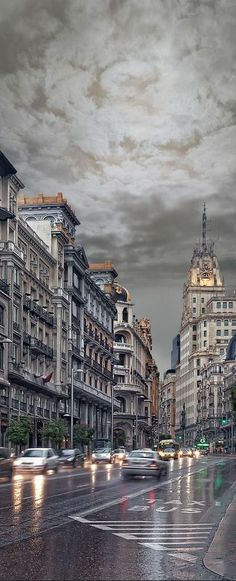 Rain in Madrid, Spain
