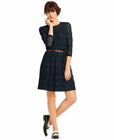 Maison Jules Dress, Three-Quarter High-Neck Lace A-Line - Maison Jules - Women - Macy's