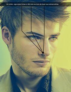 Linhas guia para limpar sobrancelha masculina.