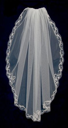 "Elegant 40"" Long Beaded Scroll Design Fingertip Wedding Veil C442--Affordable Elegance Bridal -"