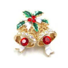 Red Clear Austrian Rhinestones Christmas Poinsettia Jingle Bell Gold-Plated Brooch Pin Fashion Jewelry. $12.95. Metal: Gold Plated. Stone: Austrian Rhinestone. Size: 30 mm x 35 mm