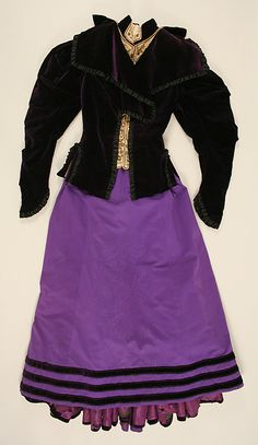 Purple wool and silk suit with metallic thread embroidery (front, with jacket), by James McCreary and Co., American, 1894-96.