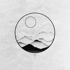 Misty mountains – Ive seen this effect in photos a lot and Ive always wanted to try it . Misty mountains – Ive seen this effect in photos a lot and Ive always wanted to try it . Forest Tattoos, Nature Tattoos, Body Art Tattoos, Small Tattoos, Art And Illustration, Sunrise Tattoo, Sunset Tattoos, Minimalist Drawing, Minimalist Art