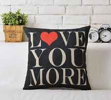 """New cotton linen cushion cover""""I LOVE YOU MORE""""pillowcase home decor gifts sale"""