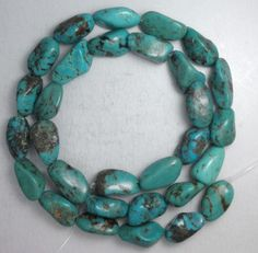 """Turquoise Loose Nugget Beads Natural Colors 16"""" Craft Jewelry Stabilized  # 473 #Erthart #Southwest"""