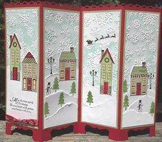 Image only Stampin' Up Holiday Home stamp set and die, Screen Divider Christmas Greeting Card Christmas Paper Crafts, Homemade Christmas Cards, Stampin Up Christmas, Christmas Cards To Make, Christmas Greeting Cards, Christmas Greetings, Greeting Cards Handmade, Homemade Cards, Handmade Christmas