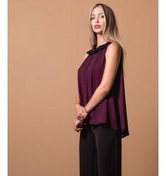 Μπλούζα Αμάνικη Ζορζέτα με Γιακά - Βυσσινί Purple, Black, Tops, Women, Fashion, Moda, Black People, Women's, Fashion Styles