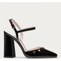 Bally SAPHIR Women's patent leather pumps in Black ($695) ❤ liked on Polyvore featuring shoes, pumps, retro pumps, square-toe pumps, patent leather pumps, black studded pumps and black patent leather shoes