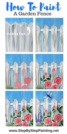 Garden Fence Painting On Canvas - Step By Step With Pictures and Video - Modern . - Garden Fence Painting On Canvas – Step By Step With Pictures and Video – Modern Design Source by - Canvas Painting Tutorials, Easy Canvas Painting, Simple Acrylic Paintings, Spring Painting, Garden Painting, Painting Lessons, Diy Canvas, Fence Painting, Diy Painting