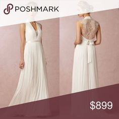 🌿 BHLDN - Wing Gown - Wedding Dress 🌿 BRAND NEW WITH TAG in BAG, SOLD OUT IN ALL SIZES! Gorgeous back panel has intricate lace detail. Super flattering! Can provide more pictures upon request. 💕Raw edge bottom is totally flawless. Only tried on once. Very long and can be altered to any length. Anthropologie Dresses Wedding