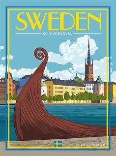 Sweden Stockholm – Vintage Travel Poster - New Site Sweden Stockholm, Tourism Poster, Sweden Travel, Italy Travel, Travel Europe, Spain Travel, Retro Poster, Poster Poster, Poster Series