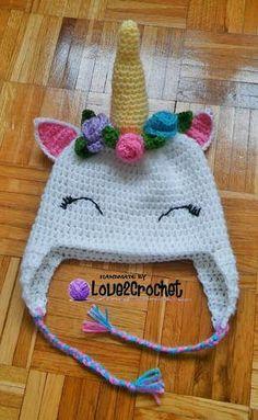 6e5f3730d89 Crochet Unicorn Ear Flap Hat - awesome free pattern! Crochet Kids Hats