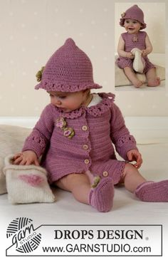 BabyDROPS 14-5 - The set comprises: Cardigan, hat and shoes. - Free pattern by DROPS Design