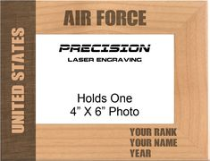 Personalized United States Air Force Engraved Wood Picture Frame - 4x6 5x7, Birthday Gift Military Gift by PrecisionLaserNC on Etsy Engraved Picture Frames, Wood Picture Frames, Picture On Wood, Picture Engraving, Fathers Day Photo, Gifts For Veterans, Military Gifts, Text On Photo, Engraved Gifts