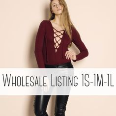 """WHOLESALE Burgundy Lace Up Bodysuit Lace up ribbed bodysuit in burgundy. Model is 5'8"""" and wearing the size small. Pack comes in 1small-1medium-1large. $18 per piece/$54 per pack. Brand new WITH TAGS. MSRP $45 WHOLESALE Tops"""
