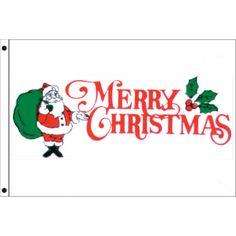 "3x5 ""Merry Santa"" Seasonal Flag; Nylon H&G - Flags A Flying"