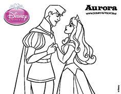 Dibujo de La Bella Durmiente - Principe Felipe y Aurora para colorear