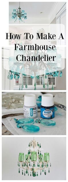 How to Make a Farmhouse Mason Jar Chandelier from Shabbyfufu Blog. The perfect DIY for those who love the farmhouse style and/or French farmhouse style and of course mason jars!
