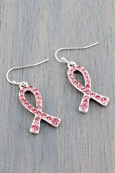 Sparkle with Support! Crystal Pink Ribbon Silvertone Earrings
