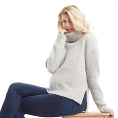 Our #Monday antidote - this cashmere turtleneck from @alc_ltd. Long side vents are great on mamas-to-be like @rocketship8. Shop the look - link in bio.