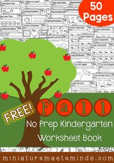 This 50-page no-prep Fall Kindergarten Workbook set is perfect for this busy time of year! :: www.thriftyhomeschoolers.com