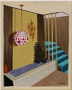 Mid Century Modern Interiors | PAINTING-RETRO-EAMES-MID-CENTURY-MODERN-ATOMIC-INTERIOR-FOYER-STAIRWAY ...