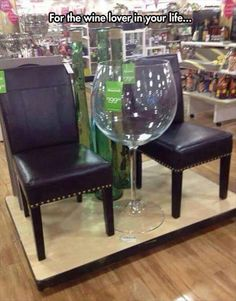 The wine glass for those who only want 1 glass of wine. Did you ever go to someone's house and say I am only going to have 1 glass of wine?  If so, this is the glass for you.  Share this picture with someone you know who loves wine. Picture from:  http://lolsuperfails.com/ludicrous-pictures-hour-10-pics-7 We Love Ya, …