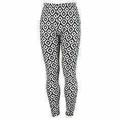 Diamond Geometric Print Leggings Black and White $9.99 Print Leggings, Black Leggings, Pajama Pants, Black And White, Diamond, Spring, Fashion, Printed Leggings, Moda