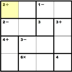 KenKen puzzle. Google Kenken for more and to find the rules if they are new to you.