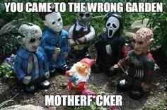 Lol My kind of Lawn Gnomes! Halloween Movies, Halloween Horror, Fall Halloween, Halloween Crafts, Happy Halloween, Halloween Skeletons, Halloween Stuff, Halloween Makeup, Halloween Ideas