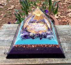 Orgone Orgonite Pyramid - Golden Violet Flame - 24k Gold, Auralite 23, Charoite, Natural Citrine, Amethyst, Metatron's Cube -Merkaba by 432oneness on Etsy