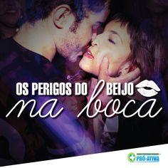Um beijo, dois beijos, três beijos... Beijar é tudo de bom :) Porém, deve-se tomar alguns cuidados, pois existem doenças que são transmitidas através do contato boca a boca.  A doença mais comum é a mononucleose, conhecida também como doença do beijo. O beijo também em casos mais extremos podem transmitir a Sífilies, doença sexualmente transmissivel =/ #ProAtiva #Saúde #Doença #Beijo #Saliva #Cuidados #Riscos