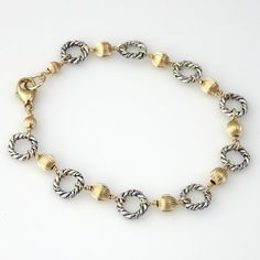"""Sterling Silver Twisted Link and Corrugated Gold Filled Bead Bracelet - 7.5"""""""