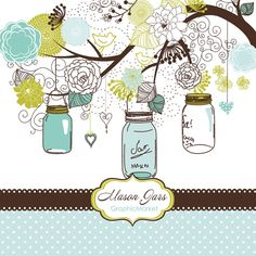 Hand Drawn Mason Jars, card template and digital papers, Clip art for scrapbooking, wedding invitations, Personal and Small Commercial Use. $4.99, via Etsy.