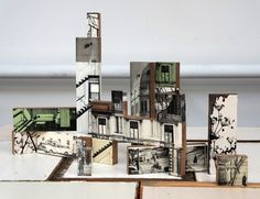 decoupage photos of buildings on blocks