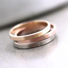 Rose Gold Wedding Band Stackable Ring, 2mm Slim Recycled 14k Rose Gold Ring Brushed Pink Gold Wedding Ring or Stacking Ring. $263.00, via Etsy.