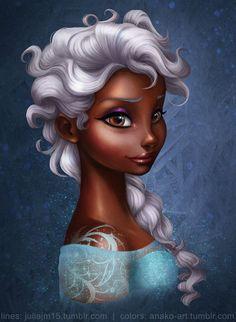 Black Elsa, bleached (well, more like an old person's hair color) hair. Black Love Art, Black Girl Art, My Black Is Beautiful, Art Girl, Black Girls, Black Cartoon, Cartoon Art, Arte Disney, Disney Art