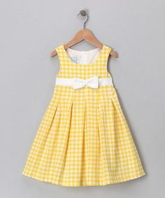 a look at this Yellow Pleated Dress - Toddler & Girls by Katie & Co.Take a look at this Yellow Pleated Dress - Toddler & Girls by Katie & Co. Frocks For Girls, Kids Frocks, Toddler Girl Dresses, Toddler Outfits, Kids Outfits, Toddler Girls, Baby Girls, Little Girl Fashion, Fashion Kids