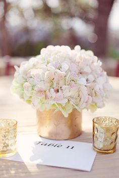 Hydrangeas in gold vases | Photography By / Forever Photography. Floral Design By / Viridian Design Studio.