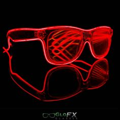 Battery Powered Illuminated Frame  Black Ultimate Diffraction Glasses  Red Luminescence Wire  Laser Etched Hard Plastic Diffraction Lenses  Batteries