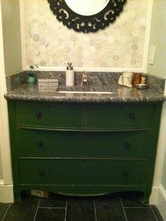 dresser turned into bathroom vanity